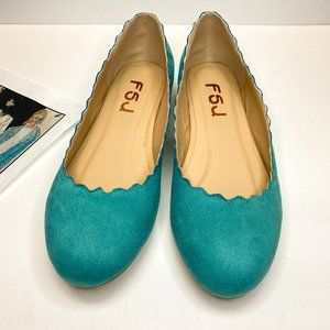 FSJ Scalloping Round Toe Suede Ballet Flats Shoes